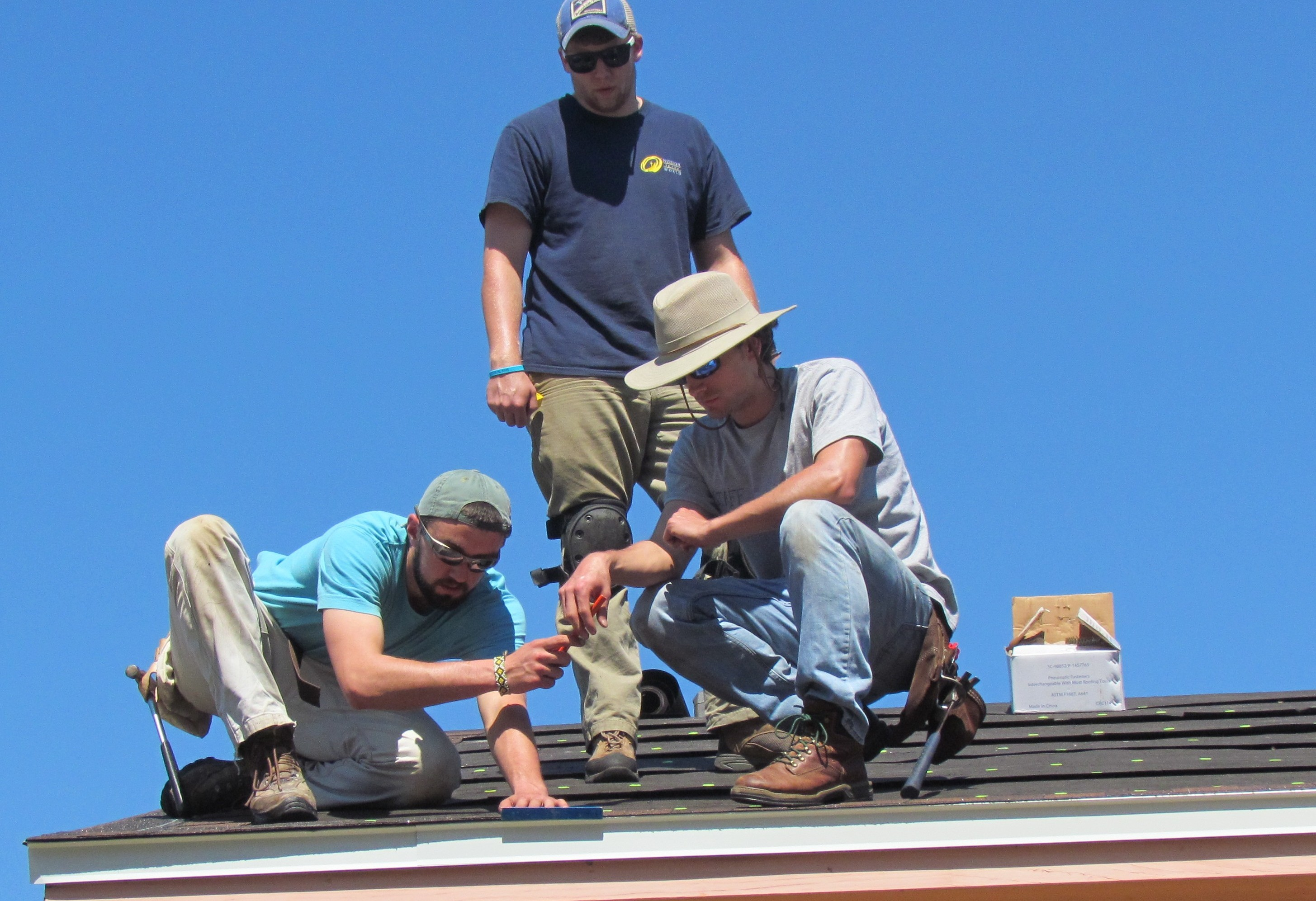 working on the roof